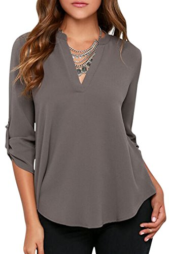 Pink Queen Womens Blouses Grey V Neck Stand Collar Chiffon Blouse Shirts Tops