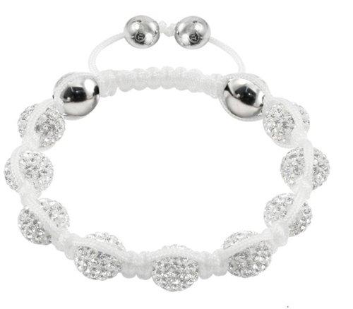Agde - Tresor Paris Bracelet - Black Diamond set in Silver & White Crystal - White Cord - Ladies