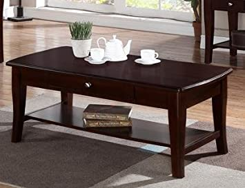 Contemporary Rich Gloss Wood Rectangular Coffee Table w/Drawer by Poundex
