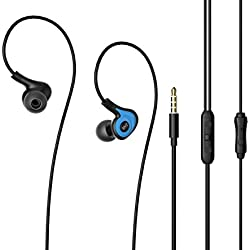 Headphones,Venstone K62 In Ear Sports Earphones for Running Gym with Microphone and Volume Control Noise Isolating Earbuds for Iphone, Android, Laptop, Tablet, MP3 (Blue)