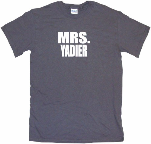 Mrs Yadier Women's Tee Shirt Large-Charcoal-Regular at Amazon.com