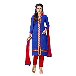 The Fashion World Blue Color Chanderi Embroidery Work Dress Material
