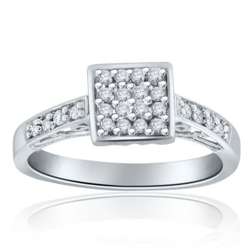Sterling Silver Simulated Diamond Ring-0.25ct
