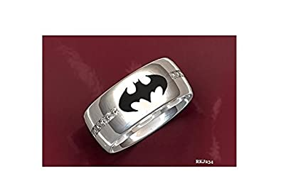Batman Black Enemal Round Brilliant Cut White Simulated Diamond 925 Sterling Silver Engagement Wedding Love Anniversary Unisex Mens Womens Ring Band,All Ring Size available