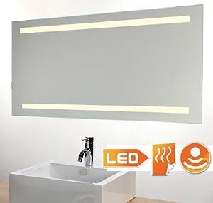 badspiegel led beleuchtet mit sensor und heizung 100 x 60 cm k che haushalt. Black Bedroom Furniture Sets. Home Design Ideas