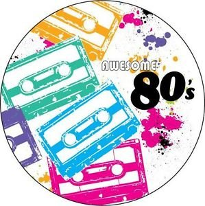 Awesome 80's Luncheon Plates x 8 - cassette and splatter paint design