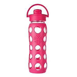 Lifefactory 22-Ounce Glass Bottle with Flip Cap and Silicone Sleeve, Raspberry