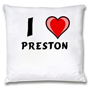 White Cushion Cover with I Love Preston (first name
