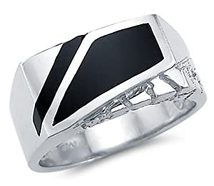 Size- 9.5 - New Solid 14k White Gold Heavy Mens Nugget Onyx Ring
