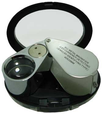ALL METAL MAGNIFIER LOUPE WITH LED LIGHT