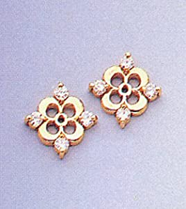 14 Karat Yellow Gold 0.25ct Diamond Earring Jackets 3/8
