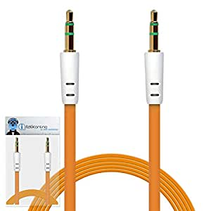 iTALKonline Huawei G6608 Orange FLAT 3.5mm Gold Plated Jack to Jack Male AUX Auxiliary Stereo Jack Connection Cable Lead Wire