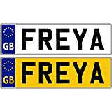 Personalised Self-Adhesive 14 x 4 cm Number Plate Stickers For Childrens Kids Ride on Car, Bike, Bedroom Doors, Wheelchair, Mobility Scooter by Ellis Graphix