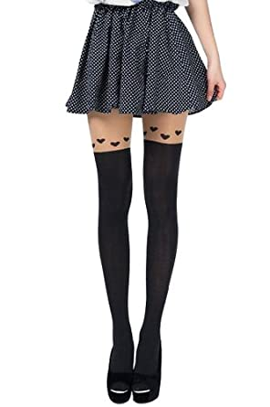 Amour - Kitten Print Knee High Length Socks CAT Tail Tattoo Tights Pantyhose Stockings (S, 0-T027)