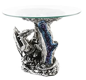 Mystic Legends Dragon Figurine Glass Coffee Table Kitchen Home