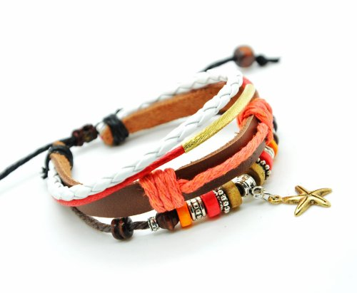 Jirong Adjustable Cool Bracelet Cuff Made of Leather Rope and Beads Cute Starfish Unisex Bracelet Cuff Bracelet Jewelry Bangle Bracelet A687