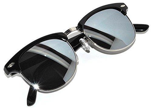 Half Frame Wayfarer Sunglasses Black Silver Metal Frame Silver Mirror Lens