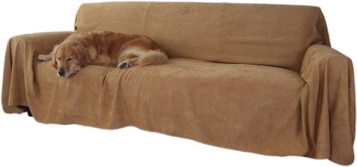 Floppy Ears Design Simple Faux Suede Couch Cover Protector, Tan, Large Three Cushion Couch Size