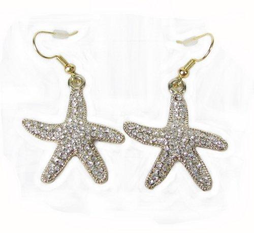 Starfish Dangle Drop Earrings Crystal Studded Sea Lovers (Goldtone)