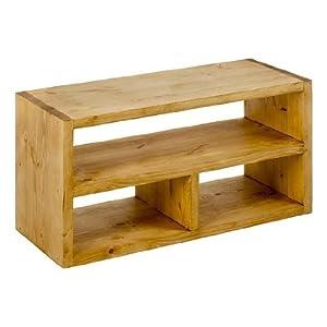 Petit meuble tv rectangulaire 3 niches en bois massif for Meuble tv petite taille