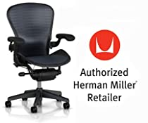 Hot Sale Herman Miller Aeron Chair Highly Adjustable with PostureFit Lumbar Support with Translucent H9 Hard Floor Casters - Large Size (C) Graphite Dark Frame, Tuxedo Blue Black Pellicle Suspension Material Home Office Desk Task Chair