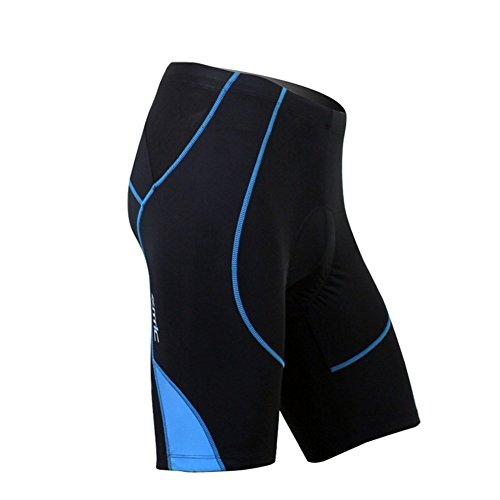 SANTIC Cycling Men's Shorts Biking Bicycle Bike Pants Half Pants 4D COOLMAX Padded Blue XL Mens Cycle Shorts