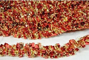 Red and Gold Metallic Tinsel Garland