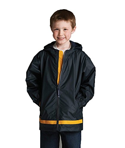 Charles River Apparel Youth New Englander Rain Jacket, Small, True Navy/Yellow