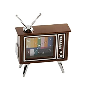 small miniature mini clock retro vintage tv television kitchen home. Black Bedroom Furniture Sets. Home Design Ideas