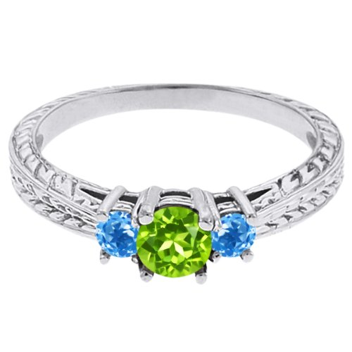 0.60 Ct Round Green Peridot Swiss Blue Topaz 18K White Gold 3-Stone Ring