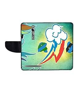 KolorEdge Printed Flip Cover For Asus Zenfone 2 -Multicolor (55KeMLogo10348Zen2)