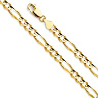 14k Yellow OR White Gold Men's 6mm Figaro 3+1 Concave Solid Chain Bracelet with Lobster Claw…