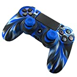 Pandaren® silicone skin for PS4 controller (camouflage blue) x 1 + thumb grip x 2