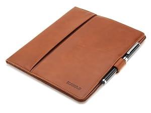 """KAVAJ Ledertasche Case Hülle """"London"""" für das Apple iPad 4, iPad 3 und iPad 2, cognac braun aus echtem Leder mit Standfunktion inkl. Eingabestift. Dünnes Smart Cover als edles Zubehör für das Original iPad"""