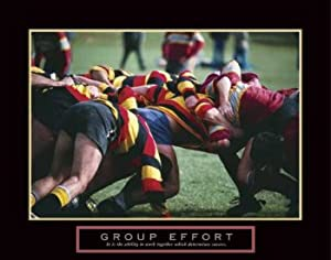 (22x28) Group Effort Rugby Players Scrum Motivational Poster Print