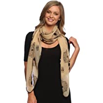 Stylish Chiffon Feel Aztec Skull Fashion Pashmina Scarf Wrap Shawl with Slim Silk Feel Black Border (taupe)