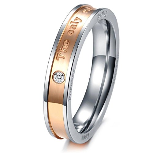 aooaz schmuck unisex ring intarsien cz the only eternal love edelstahl ehering schwarz rose gold. Black Bedroom Furniture Sets. Home Design Ideas