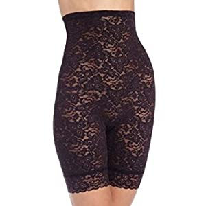 Bali Women's Shapewear Lace 'N Smooth Hi-Waist Thigh Slimmer, Black, Medium