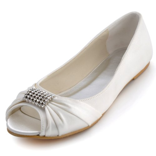 Elegantpark EP2053 White Women's Peep Toe Buckle Satin Bride Wedding Flats US 9