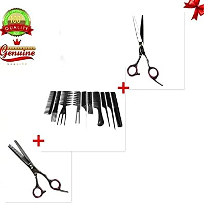 EYX Formula 10 PCS Professional Hair Comb Set with 1 set Hairdress Scissor(1pc Regular+1 Texturizing Scissor)
