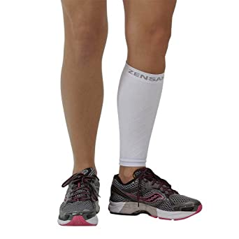 Zensah Calf/Shin Splint Compression Sleeve (singe sleeve), White, Large/X-Large