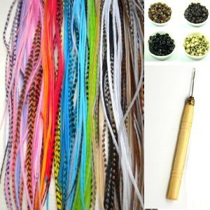 """NEW 7""""-11"""" Feather Hair Extension Kit 10 Long Multi color Genuine Single Feathers + 10 Micro Beads & hook Tool (You will get mixed colors)"""