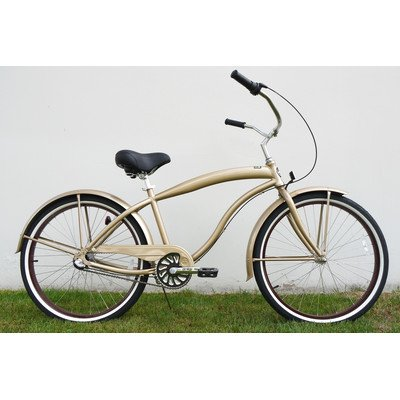 Men's 3-Speed Aluminum Beach Cruiser Frame Color: Khaki Brown