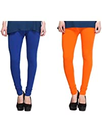 Leggings Free Size Cotton Lycra Churidar Leggings - Pack Of 2 Of Dark Blue & Light Orange Colour By SMEXY