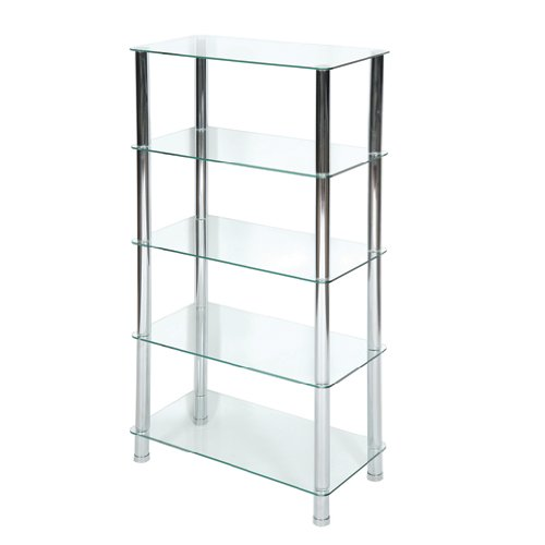 LEVV FU5TCCH 5 TIER GLASS SHELVING UNIT