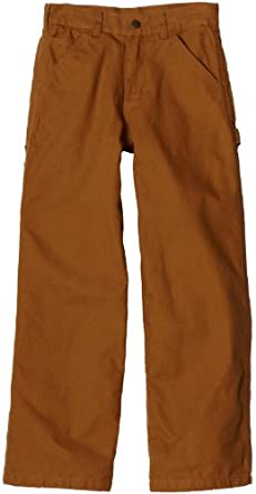 Carhartt Little Boys' Washed Dungaree Flannel Lined, Carhartt Brown, 4