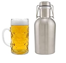 Apollo Stainless Steel Beer Growler 64 oz with Swing Top Cap or Keg 2 Liter Water Bottle (1PC)