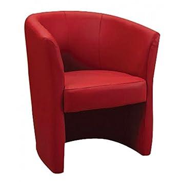 Poltrona, poltroncina in ecopelle rossa, poltrona rossa. Altezza seduta 42cm. Poltrona da salotto in ecopelle rossa. Poltrona salotto, poltrona ecopelle. Poltroncina rossa, dimensioni 65 x 78 x 60cm