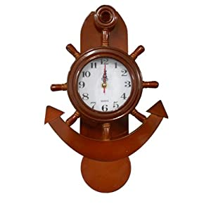 335045 orologio da muro timone e ancora pendolo in legno for Orologio legno amazon