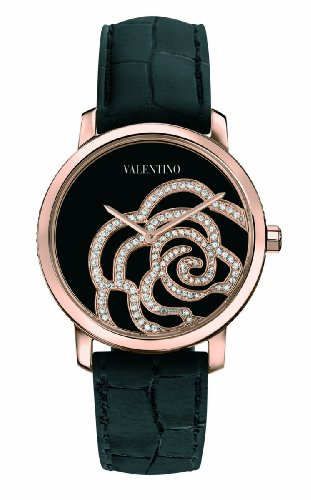 Valentino Women's V41SBQ5099SSA09 Rose Gold-Plated Diamond Black Crocodile Leather Watch